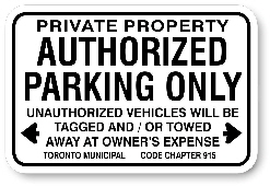 1AP005 Authorised Parking Sign, Toronto Municipal Code Chapter 915 - Aluminum Parking Sign