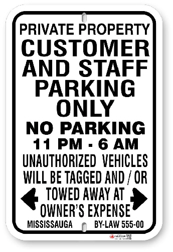 1CPMO1 Customer and Staff Parking Only with Time Limit and Mississauga By-Law 555-00