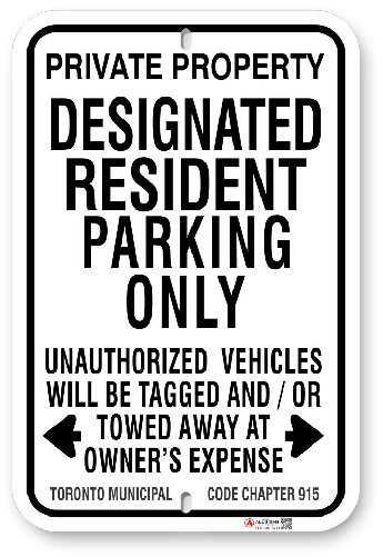 1DRP01 Designated Resident Parking Only with Toronto Municipal Code Chapter 915