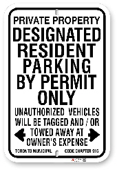 1drpp1 designated resident parking by permit only with toronto municipal code chapter 915 sign made by all signs co