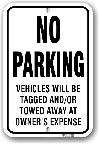 1np003 no parking sign vehicles will be towed away