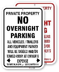 1np009 no overnight parking sign with black or red graphics by all signs co