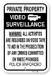 1NT004 Video Surveillance Warning Police Enforced Sign