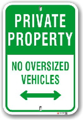 1ppar1 private property no oversized vehicles parking sign by all signs