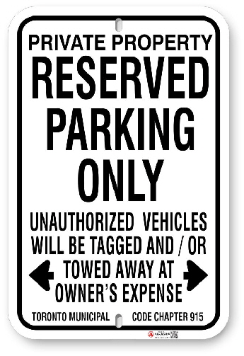 1RPPA3 Reserved Parking Only sign with Toronto Municipal Code Chapter 915