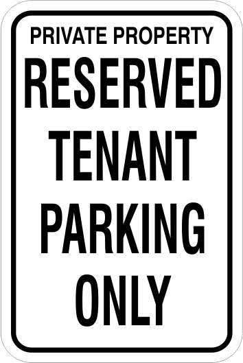 1RTP01 Aluminum Reserved Tenant Parking Only Sign