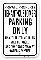 1tc0a1 tenant - customer parking only sign made by all signs co