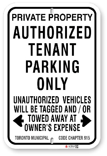 1TP007 Authorized Tenant Parking Only Sign with Toronto Municipal Code Chapter 915