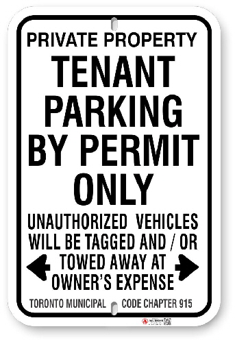 1TP010 Tenant Parking By Permit Only Sign with Toronto Municipal Code Chapter 915