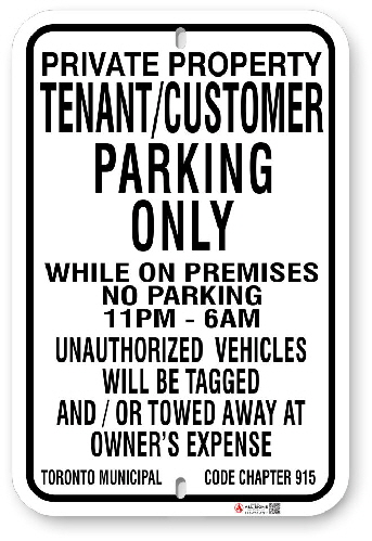 1TPC01 Tenant - Customer Parking Only While on Premises Toronto Municipal Code Chapter 915