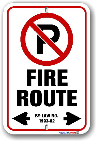 2fr001 Fire Route  Sign for the City of Newmarket By-Law 1993-82