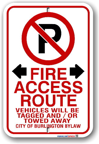 2FR005 Fire Route Sign for the City of Burlington By-Law