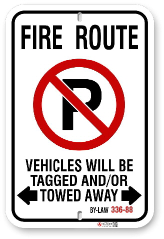 2MFR02 Fire Route sign with By-Law 336-88 by ALL Signs Co