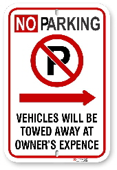 2NPRA01 No Parking Sign with Red Circle P and Right Arrow