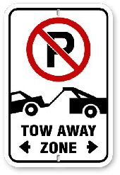 2TA001 No Parking Tow Away Zone Sign