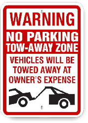 2ta003 warning no parking tow away zone
