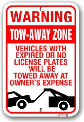 2ta004 warning tow away zone parking sign by all signs