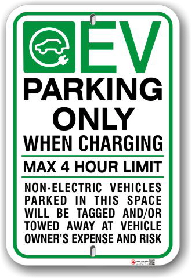 EV001 Electric vehicle parking only sign made by ALL Signs Co Toronto